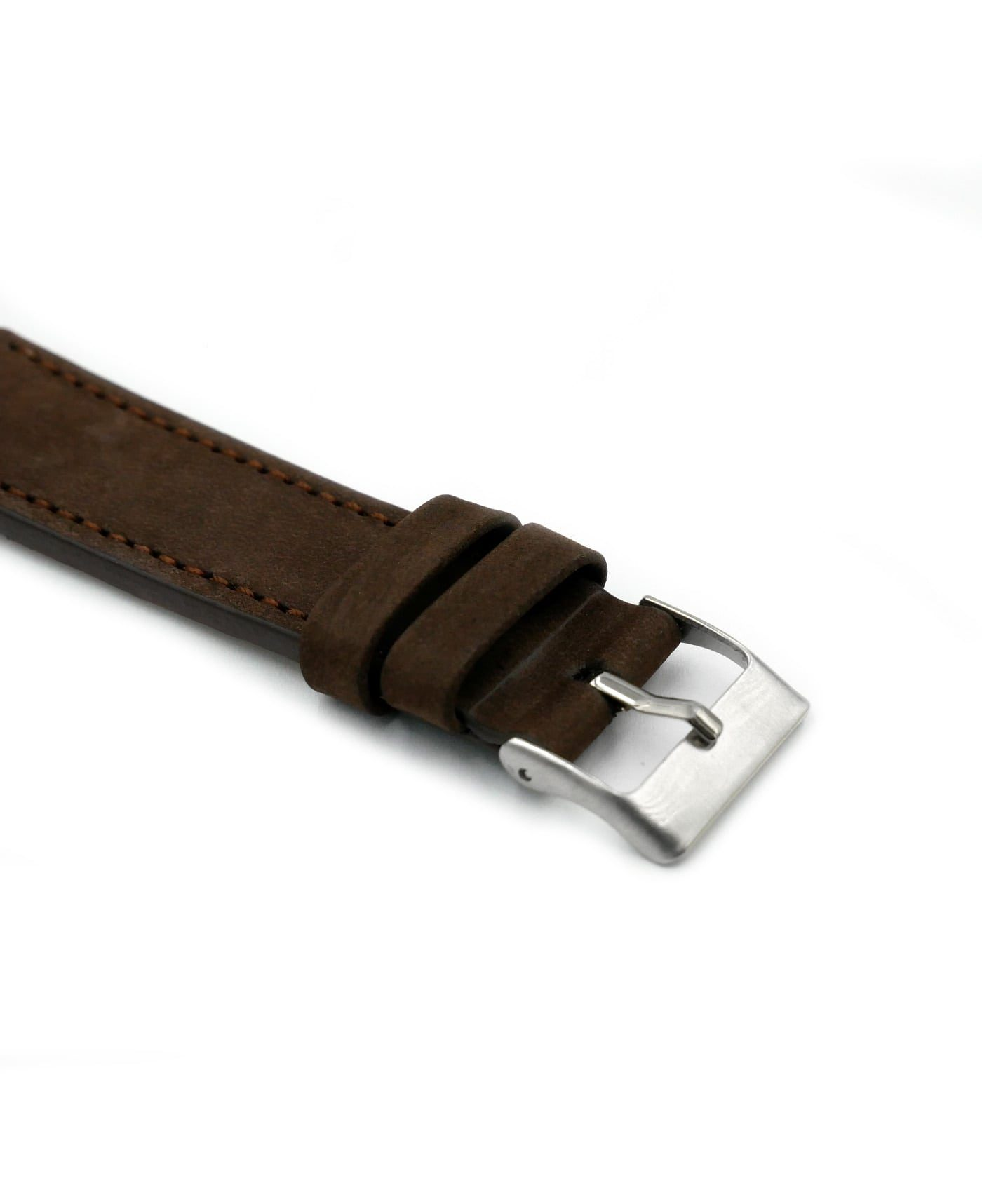 Pebro Premium Calfskin Watch Strap Coffee/Dark Brown No 579 buckle close up