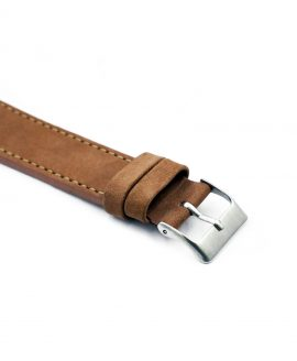 Pebro Premium Calfskin Watch Strap Hazelnut/Brown No 191 close up buckle