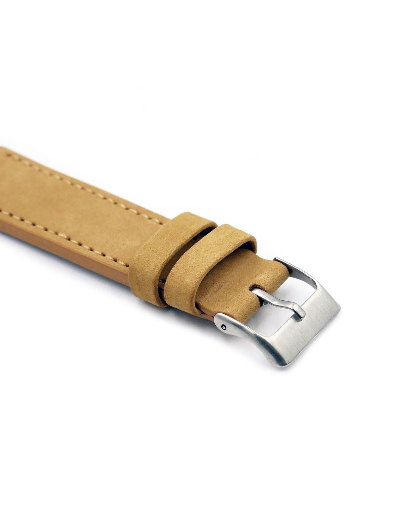 Pebro Premium Calfskin Watch Strap Mustard Beige No 580 buckle close up