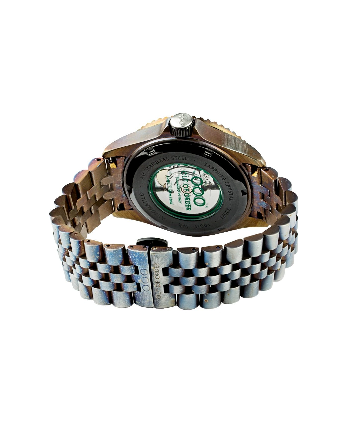 WB Watch Out Of Order green Swiss Automatico back