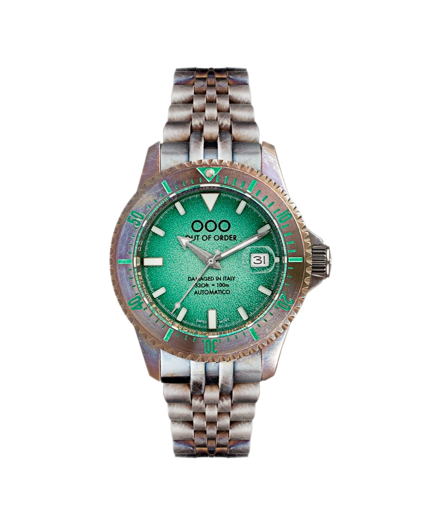 WB Watch Out Of Order green Swiss Automatico front