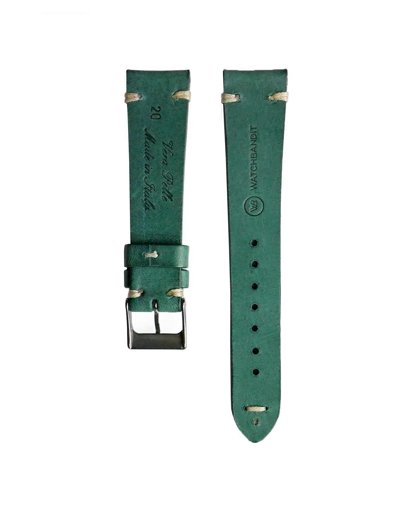 WB original premium vintage leather watch strap petrol green back