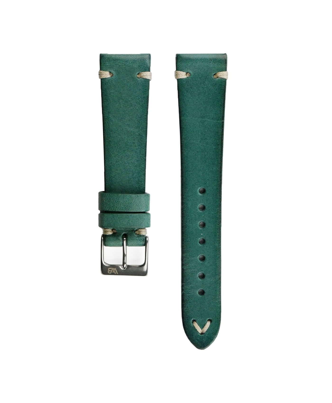 WB original premium vintage leather watch strap petrol green front