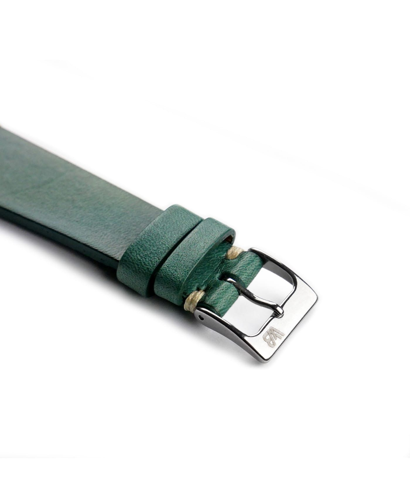 WB original premium vintage leather watch strap petrol green side buckle