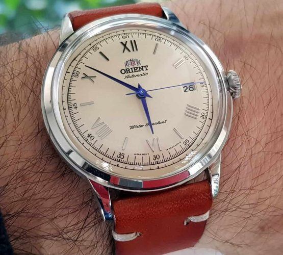 Orient automatic watch on watchbandit vintage leather strap