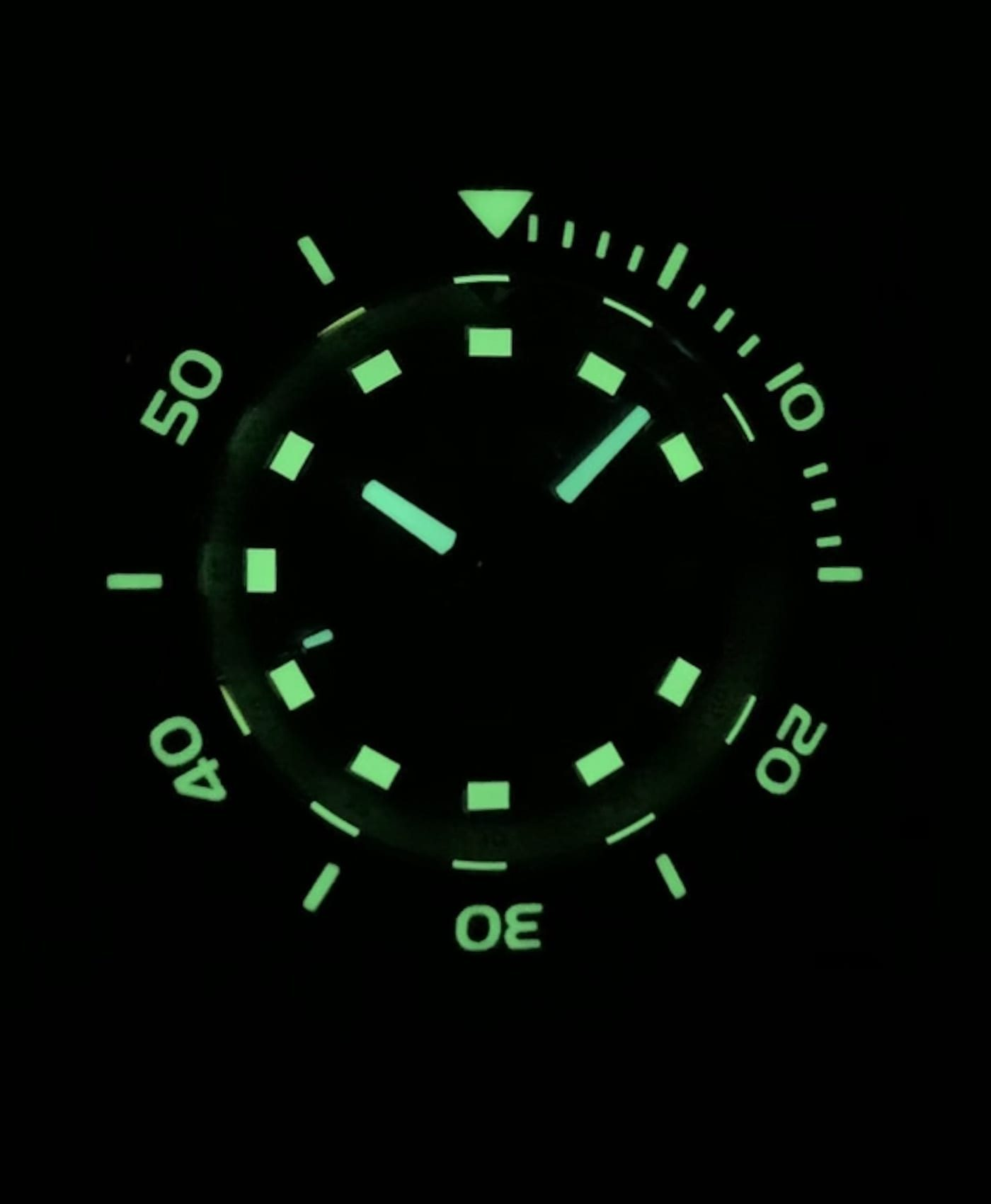 LeJour Hammerhead dive watch lume shot