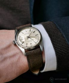 Rolex Datejust 36 on brown mocha Suede strap by RIOS1931
