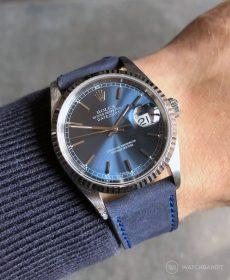 Rolex Datejust 36 on blue Calfskin Nubuk leather strap by WB Original