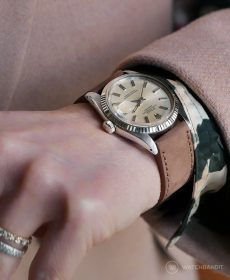 Rolex Datejust 36 on hazelnut brown Calfskin Nubuk leather strap by WB Original