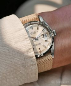 Rolex Datejust 36 on beige Perlon strap by WB Original