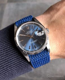 Rolex Datejust 36 on blue Perlon strap by WB Original