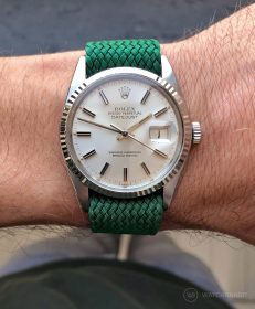 Rolex Datejust 36 on green Perlon strap by WB Original