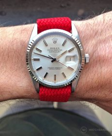 Rolex Datejust 36 on red Perlon strap by WB Original