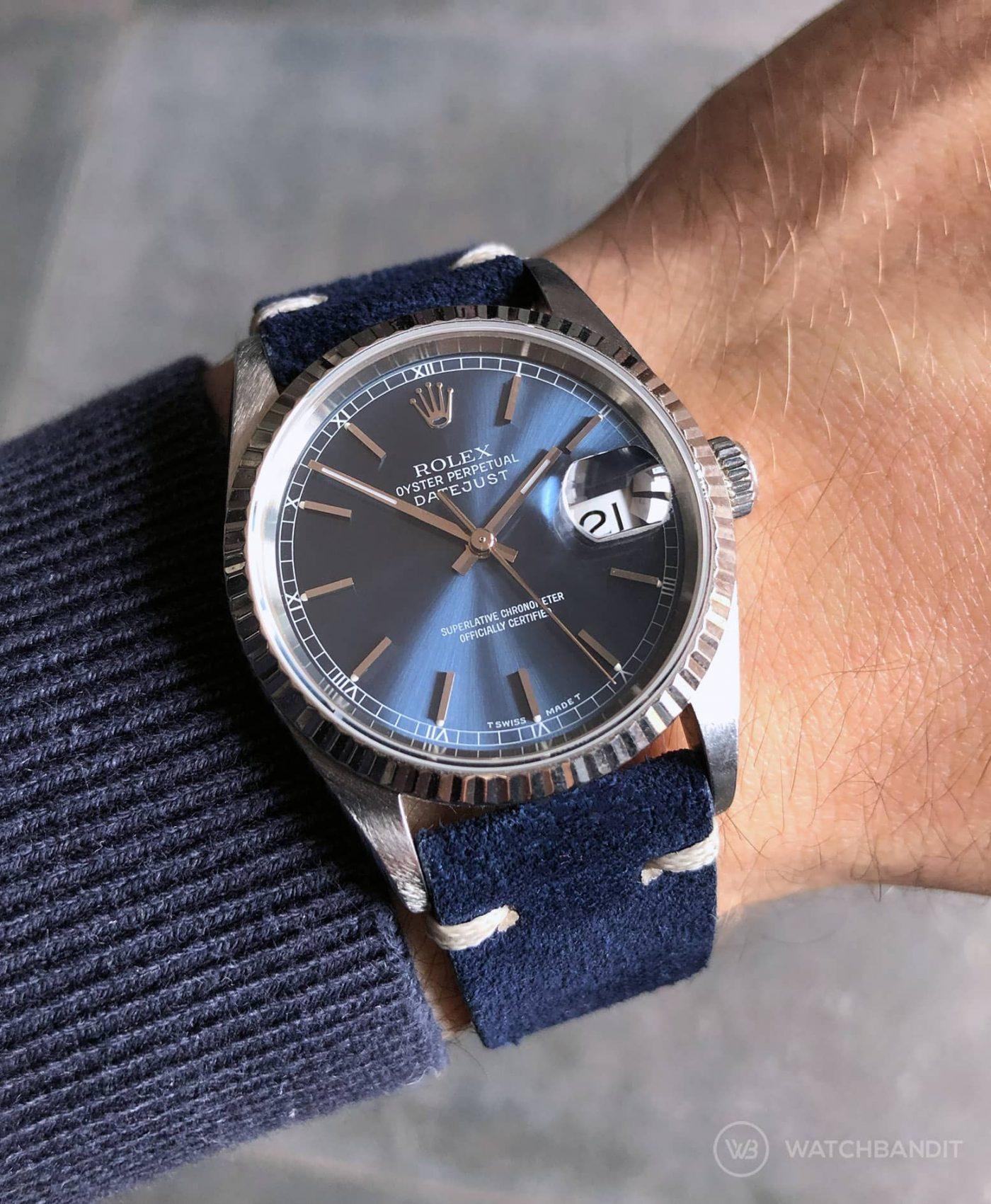 Rolex Datejust 36 Suede strap by WB Original in navy blue