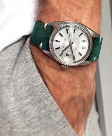 Rolex Datejust 36 Suede strap by WB Original in petrol green