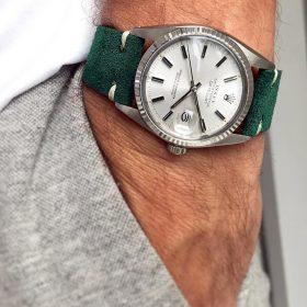 Rolex Datejust 36 Suede strap by WB Original in petrol green