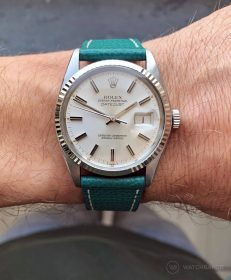 Rolex Datejust 36 on petrol green Textured Calfskin leather strap by WB Original