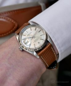 Rolex Datejust 36 on tanned Textured Calfskin leather strap by WB Original