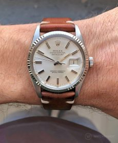 Rolex Datejust 36 on brown Vintage Leather strap by WB Original