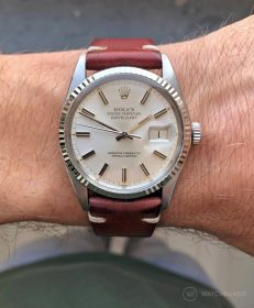 Rolex Datejust 36 on burgundy Vintage Leather strap by WB Original