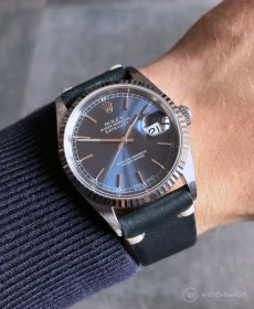 Rolex Datejust 36 on midnight blue Vintage Leather strap by WB Original