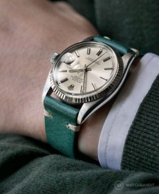 Rolex Datejust 36 on petrol green Vintage Leather strap by WB Original