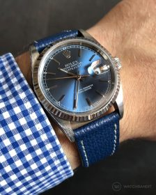 Rolex Datejust 36 on blue Textured Calfskin leather strap by WB Original