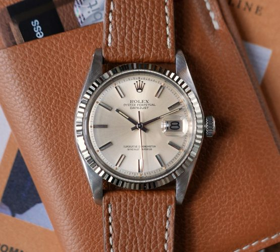 Rolex Datejust 1601 tanned brown calfskin leather strap