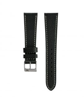 Textured calfskin leather watch strap black front watchbandit