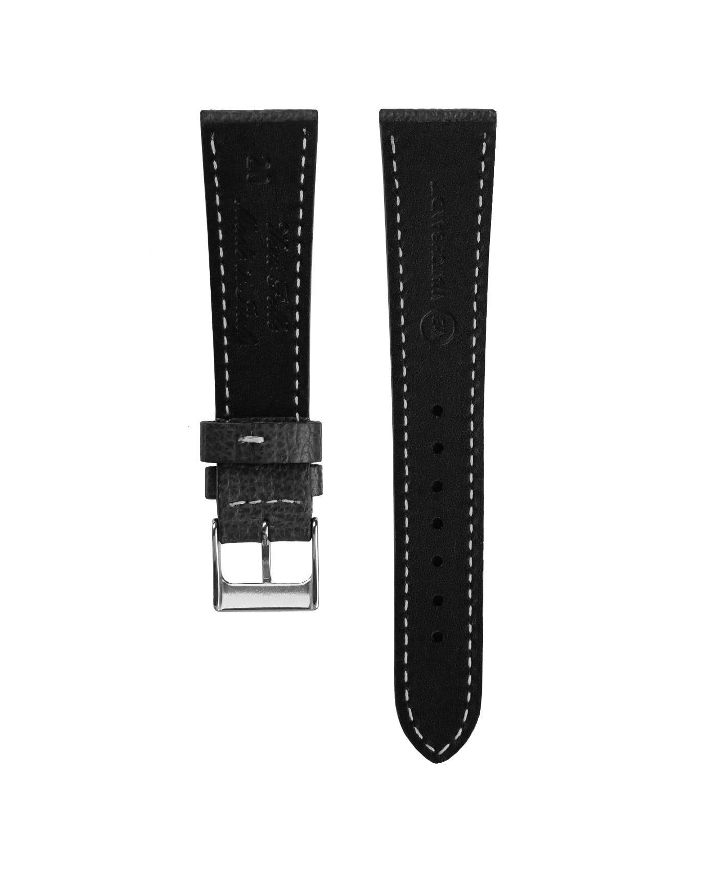 Textured calfskin leather watch strap black back watchbandit