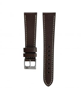 Textured calfskin leather watch strap dark brown front watchbandit