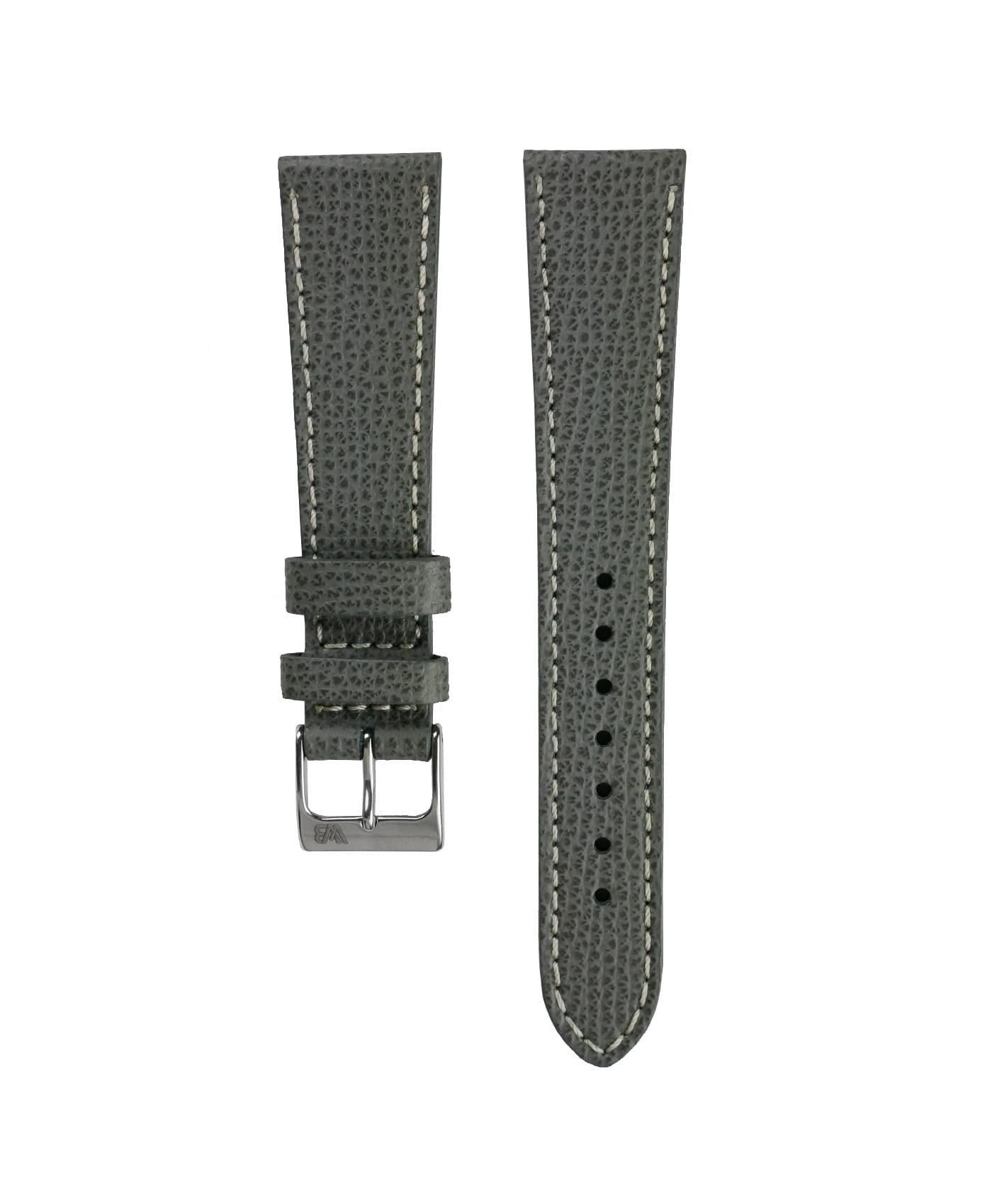 Textured calfskin leather watch strap dark grey front watchbandit