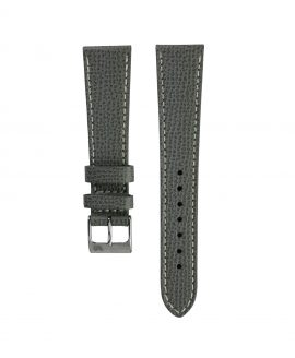Textured calfskin leather watch strap dark grey front watchbandit