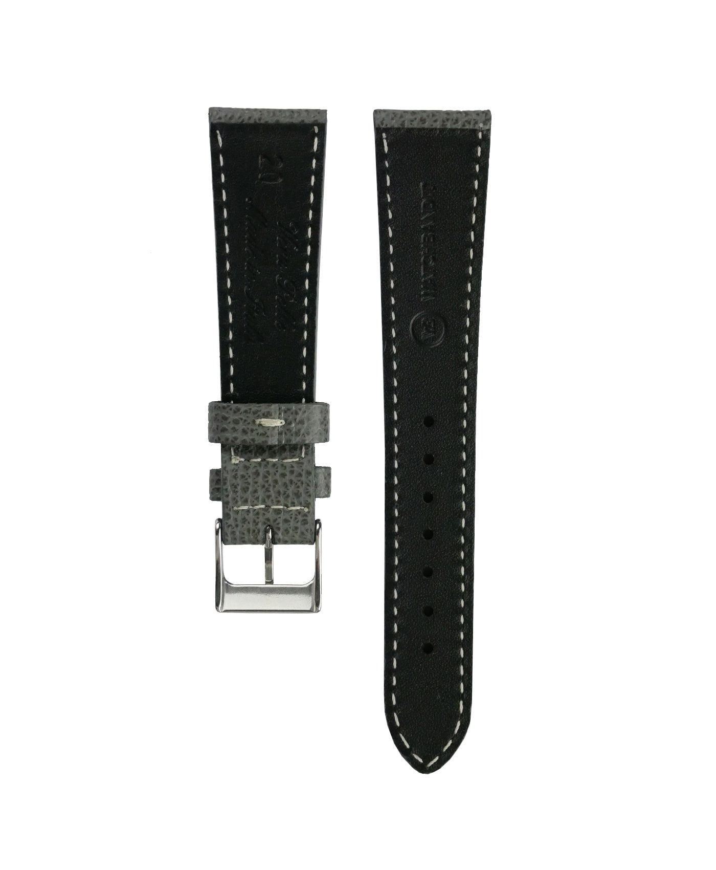 Textured calfskin leather watch strap dark grey back watchbandit