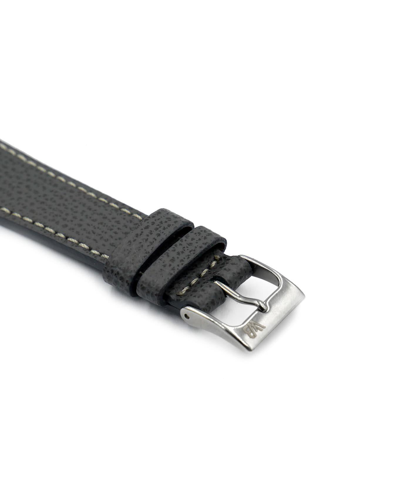Textured calfskin leather watch strap dark grey side watchbandit