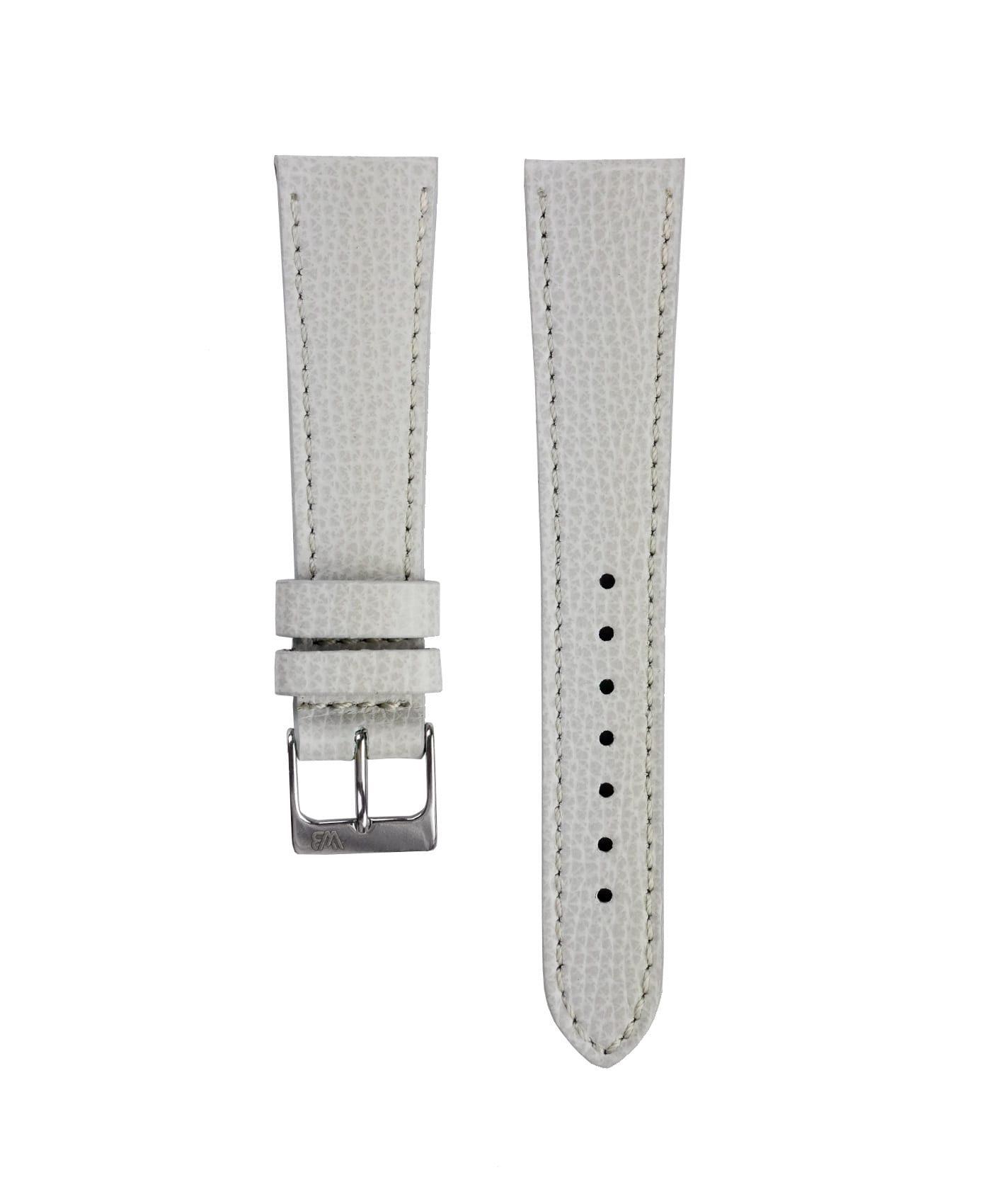Textured calfskin leather watch strap light grey front watchbandit