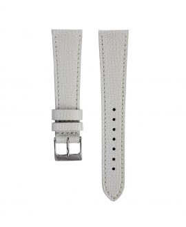 Textured calfskin leather watch strap light grey front watchbandit