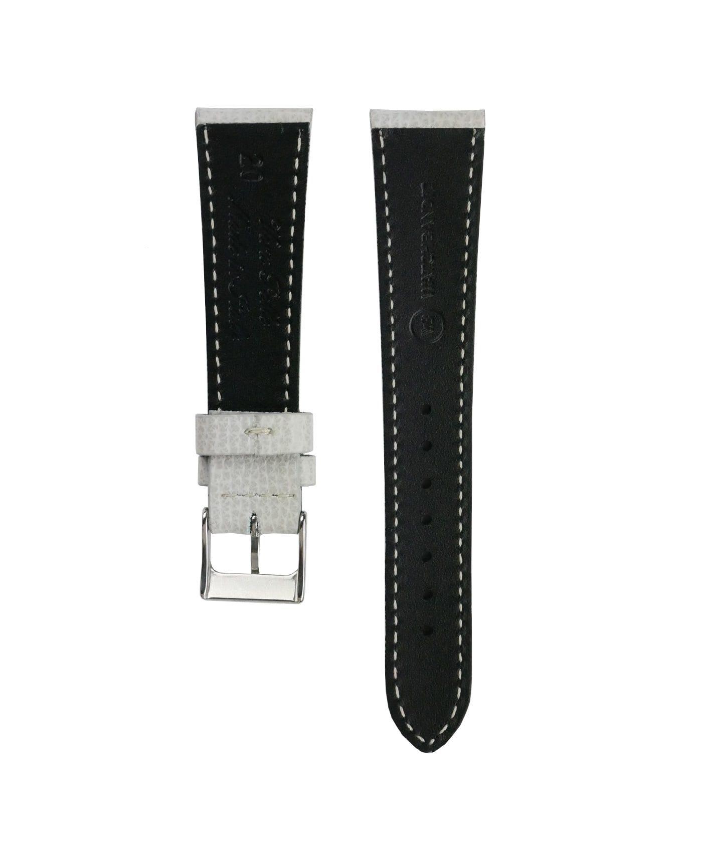 Textured calfskin leather watch strap light grey back watchbandit