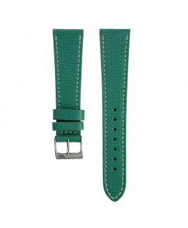 Textured calfskin leather watch strap petrol green front watchbandit