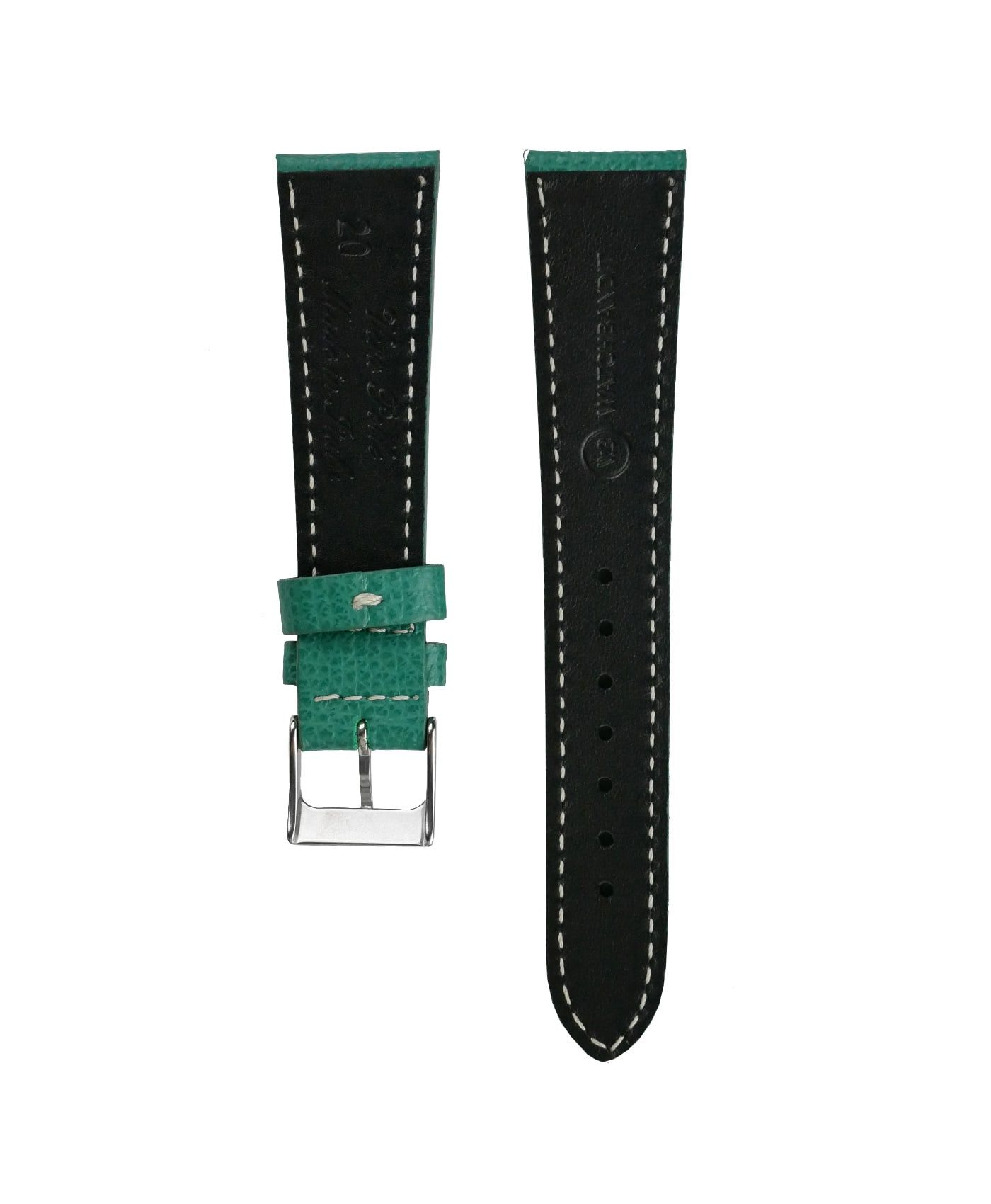 Textured calfskin leather watch strap petrol green back watchbandit