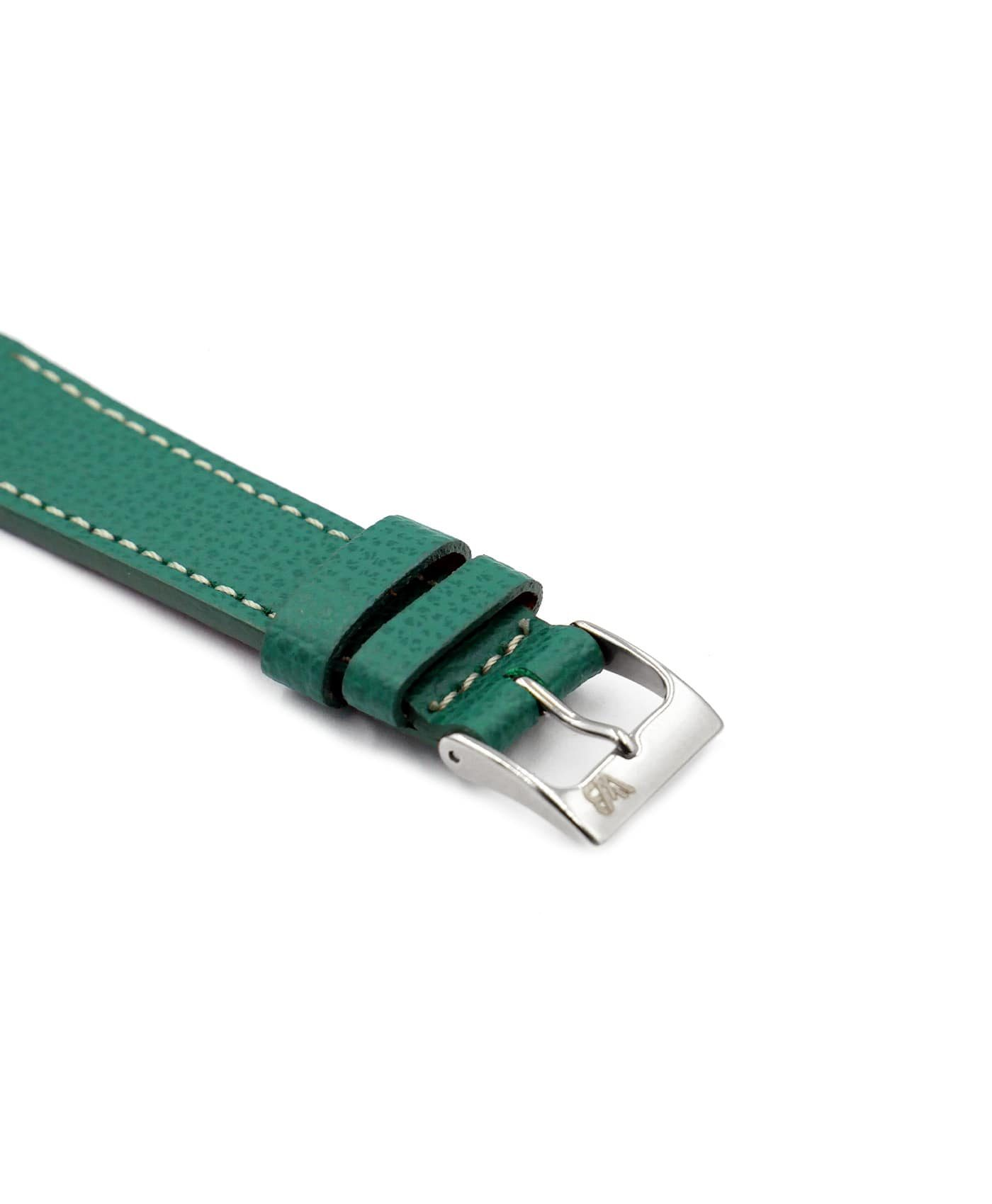 Textured calfskin leather watch strap petrol green side watchbandit