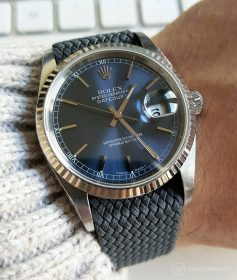 Rolex Datejust 36 on dark grey Perlon strap by WB Original