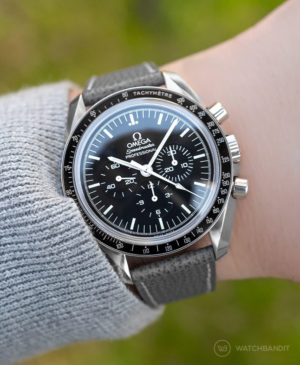 textured calfsking strap wo original watchbandit omega speedmaster