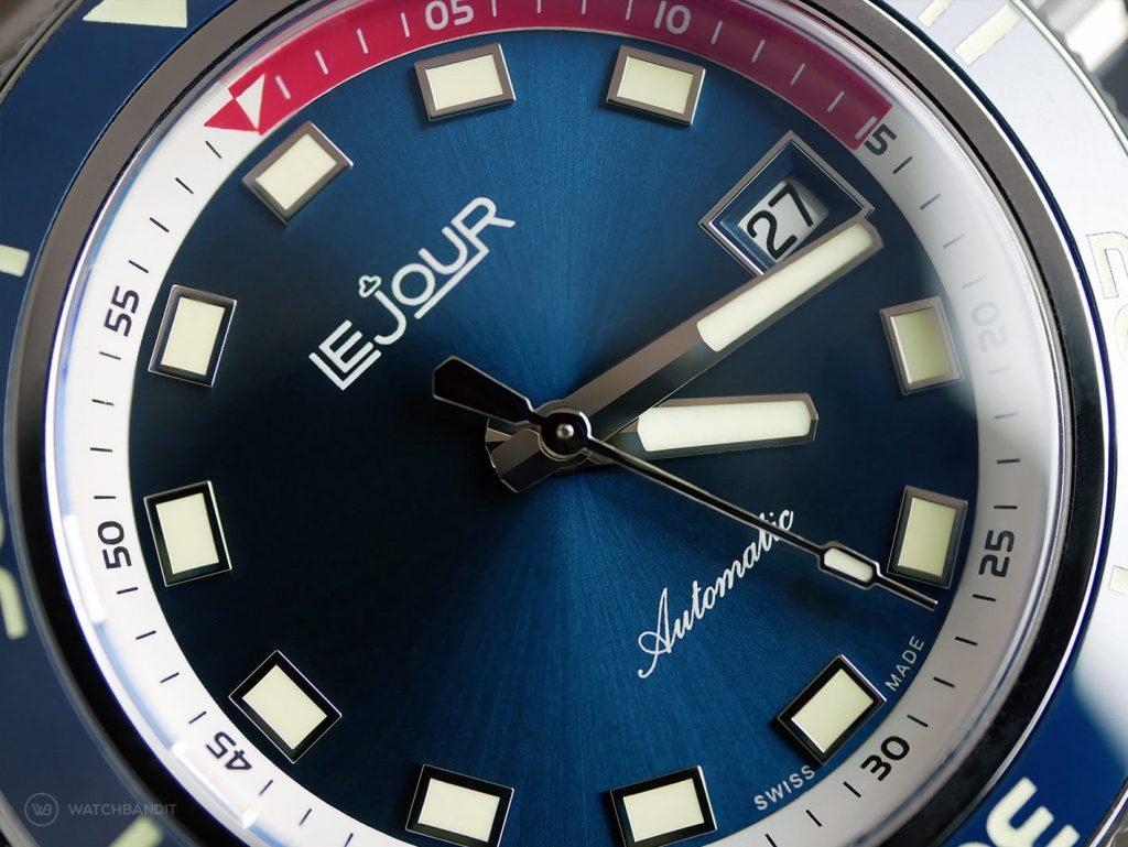 Le Jour Hammerhead blue dial LJ-HH-002 macro close up