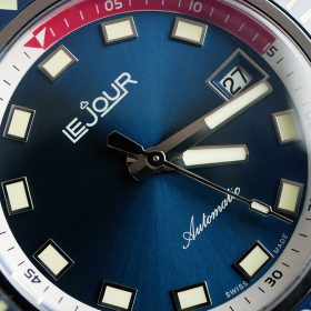 Le Jour Hammerhead blue dial LJ-HH-002 macro close up