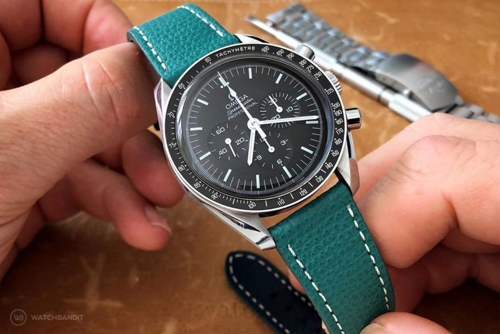 Omega Speedmaster Professional on textured calfskin leather strap petrol green