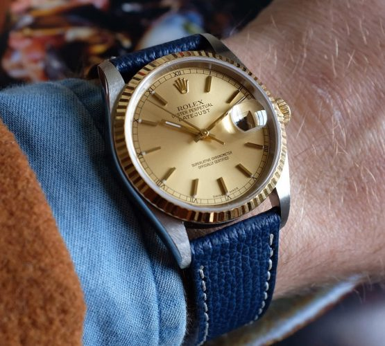 Rolex Datejust 36 ref. 16233 on blue Textured Calfskin leather strap by WB Original