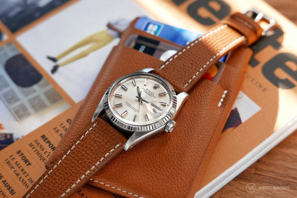 Rolex Datejust reference 1601 brown tanned textured calfskin leather strap by Watchbandit