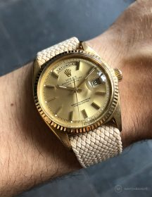 Rolex Day-Date on beige WB Original perlon strap