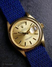 Rolex Day-Date on blue WB Original perlon strap